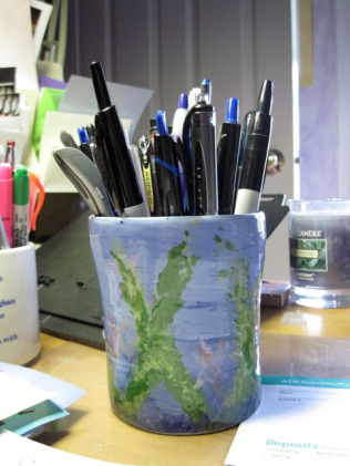 Pens in a cup
