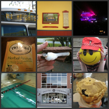Pictures I've taken recently, a bus in Concord, an ice cream menu, Daughtry in concert, A tea I like but can never remember, a fresh made s'more, my daughter hiding behind a ball, a pool viewed from above, Capital Commons, Mocha Chip Ice Cream in a Waffle Cone.
