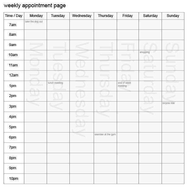 Calendar Pages With Time Slots : Writing routine live to write