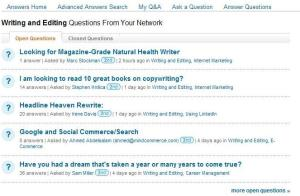 LinkedIn question and answer screen sample