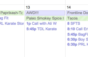 A snippet of Google Calendar with an entry for AWD!!!