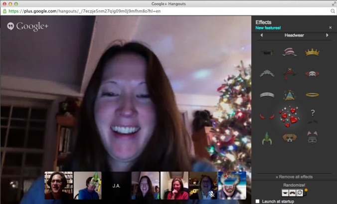 A screen grab of the NHWN writers on Google Hangouts