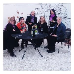 Left to right: Sherry Harris, Jessie Crockett, Edith Maxwell, Barb Ross, Liz Mugavero, moi. Photograph by Meg Manion