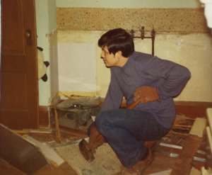 Dad in my sister's childhood room - tearing it down to build it back up