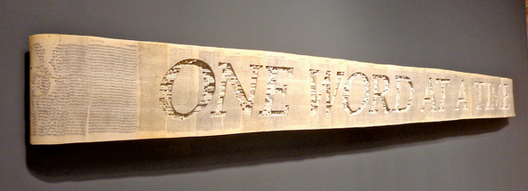 """One Word at a Time"" book art by Brian Dettmer. Photo by Lindsey Davis on Flickr"