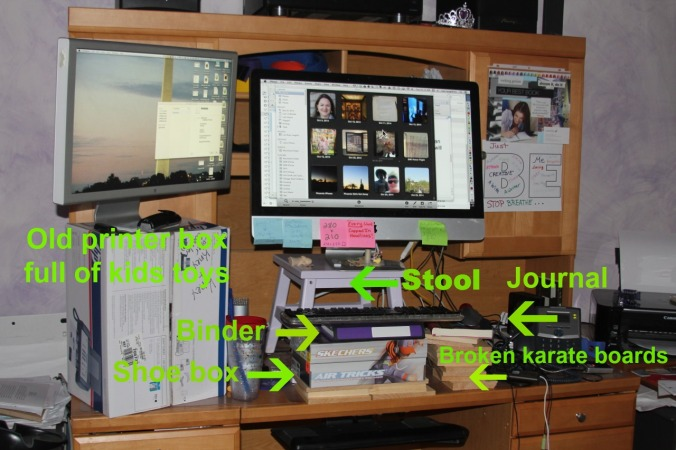 Labeled standing desk