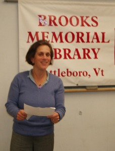 Speaking at Brooks Memorial Library in Brattleboro, VT.