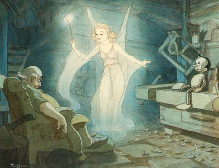 Even the Blue Fairy can't make you a real writer ~ Inspirational Illustration by Gustaf Tenggren