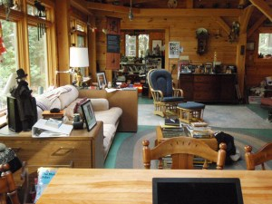 View from kitchen table of Maine cabin for retreat - many seating options!
