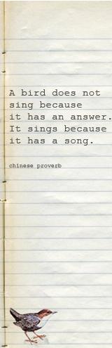 pin bird sings proverb