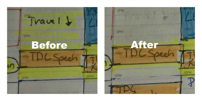 picture shows my planner close up. On left highlighted text says travel on right highlighted text is erased.