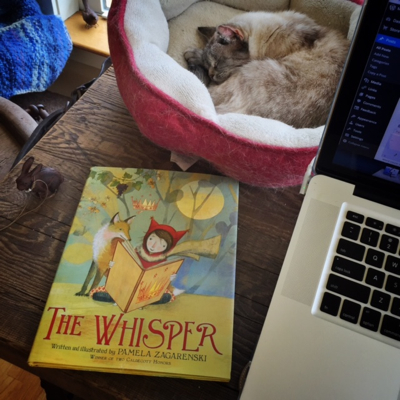 The Whisper by Pamela Zagarenski and my elder kitty, Bella.