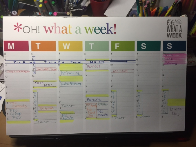 A snap of my week mapped out on an Erin Condren Planner Pad