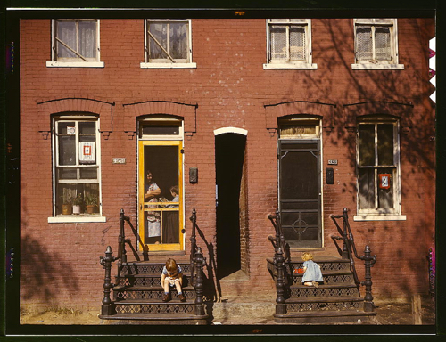 Children on row house steps, Washington, D.C, between 1941 and 1942, photographed by Louise Rosskam